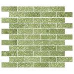 """Susan Jablon - 12""""x12"""" Light Lime Green Glitter Glass Subway Tile, Full Sheet - This light lime glittering 1x3 inch glass subway tile is a luscious green tone with light lime glitter."""