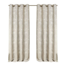 Nicole Miller Turion Grommet Top Curtain Panel Pair, Linen, 52x96