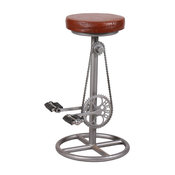 Upcycled Leather Seat and Bicycle Pedal Bar Stool