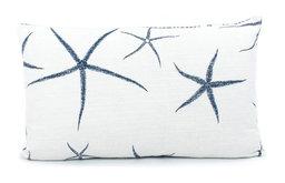 """Beach Bum Blue Reversible Pillow, 12""""x20"""", Feather-Down Insert"""