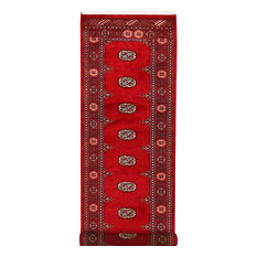 "ALRUG Handmade Deep Red Oriental  Bokhara Rug, 2'6""x8'4"""