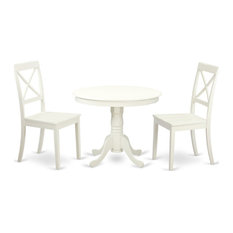3  Pc  Set-Table  And  2  Wood  Kitchen  Chairs  In  Linen  White  .