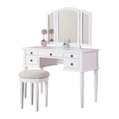 Delightful Pdx   3 Piece Bedroom Vanity Set, Table, Mirror, Stool, White