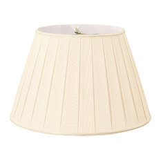 "Round Pleated Designer Lampshade, Beige, Eggshell, 11""x18""x12"""