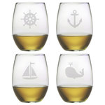 Susquehanna Glass - Nautical Icons 4-Piece Stemless Wine Glass Set - Seas the day by serving up your favorite vino in the Nautical Icons Stemless Wine Glasses. This set of glassware is the perfect addition to any seasoned sailor's or maritime enthusiast's kitchen or home bar, with an assortment of seafaring images etched into the surfaces.