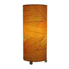 Outdoor Indoor Cocoa Leaf Cylinder Table Lamp, Orange