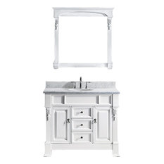 "Huntshire 40"" Single Bathroom Vanity Set, White, Marble Countertop"