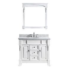 "Huntshire 40"" Single Bathroom Vanity Set, White, Marble Countertop"