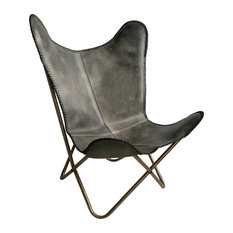 Leather Butterfly Chair, Vintage Grey