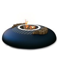 GlammFire Mime Ethanol Firewood Charcoal Gas Fire Pit, Firewood / Charcoal