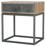 Asta Furniture - Asta Teak and Iron Night Stand, Small, Simplicity - Simplicity design Solid Teak and Iron Nightstand
