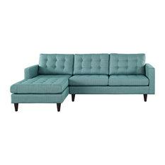Lexmod Empress Left Facing Upholstered Fabric Sectional Sofa Laguna Sofas