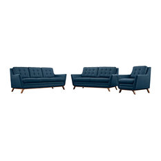 Modway - 3-Piece Beguile Living Room Set, Upholstered Fabric, Azure - Living Room Furniture Sets