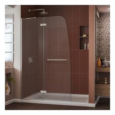 "Aqua Ultra 45"" Frameless Hinged Shower Door, Brushed Nickel"