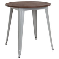 """26"""" Round Metal Indoor Table With Walnut Rustic Wood Top, Silver"""