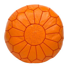 Embroidered Leather Pouf, Orange
