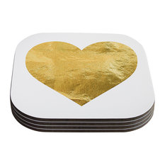 "KESS Original ""Heart of Gold"" Metallic Coasters, Set of 4"