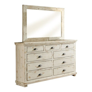 Progressive Willow 7 Drawer Dresser and Mirror in Distressed White
