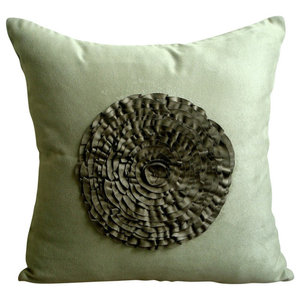 Vintage Olive Flower, Green Faux Suede 40x40 Cushion Cover