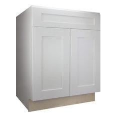 "Cabinet Mania White Shaker Kitchen Base Cabinet 24""x34.5""x24"""