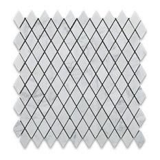 1x1 Carrara White Diamond Rhomboid Marble Mosaic Tile, 5 Sq. ft.