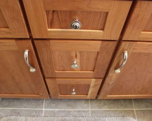 Tiled Masterbath with Makeup Vanity ~ Medina, OH #1 - Cabinet And Drawer Knobs
