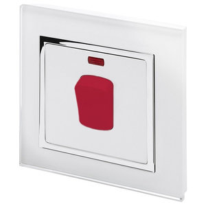 RetroTouch 45A Double Pole Cooker Switch, White Glass With Trim