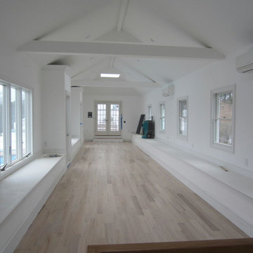 """WATER MILL:  4"""" RED OAK INSTALLED AND PICKLED - 3 COATS BONA TRAFFIC SATIN"""