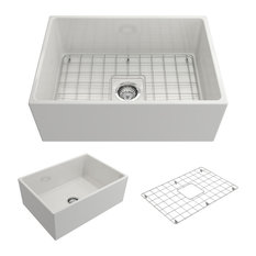 """Contempo Farmhouse Kitchen Sink With Grid and Strainer, White, 27"""""""
