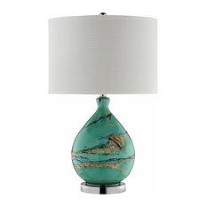 Morenci Table Lamp, Teal, Black, Gold, Brown, Cream