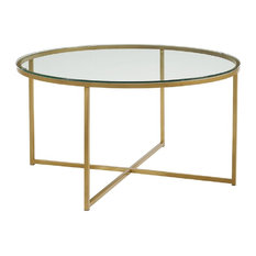 Crossed Legs Coffee Table, Glass and Gold