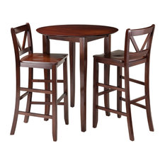 Winsome Wood Fiona 3 Piece High Round Table With 2 Bar V-Back Stool