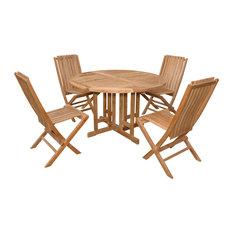 """47"""" Barcelona Round Dropleaf Table With 4 Folding Chairs, Grade A Teak"""