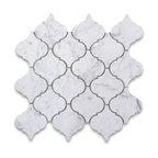 "14.5""x15"" Carrara White Lantern Shaped Arabesque Baroque Mosaic Tile Honed"