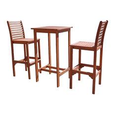 Vifah Malibu Dartmoor 3 Piece Wood Patio Dining Set