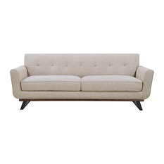 Button Tufted Wood and Metal Base Beige Sofa