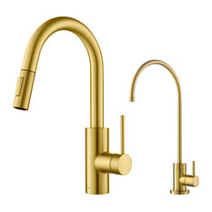 Oletto Pull-Down 1-Handle 1-Hole Kitchen Faucet, Brushed Brass, Water Dispenser