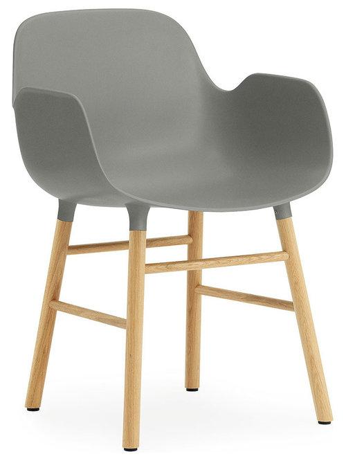 Form Karmstol 78x56,1cm, Grå/Ek - Udendørs spisebordsstole