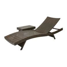 GDF Studio Lakeport 2pc Outdoor Adjustable Chaise Lounge Chair & Table Set
