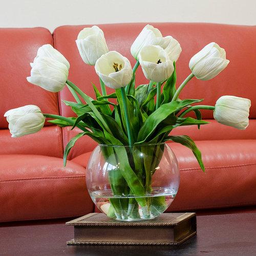 Real Touch White Tulip Faux Arrangements Centerpieces For Home Decor Artificial Flower Arrangements