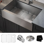 """Kraus USA - 33"""" Farmhouse Apron Stainless Steel Kitchen Sink, Single Bowl 16 Gauge - The perfect combination of style and practicality, Standart PRO farmhouse sinks feature oversized bowls, wear-resistant finish, and exclusive NoiseDefend sound dampening for superior protection against noise from dishwashing and waste disposal."""