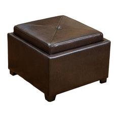 GDF Studio Durban Tray Top Storage Brown Leather Ottoman Coffee Table