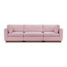 Taylor Plush 3-Piece Modular Sofa, Blush Velvet
