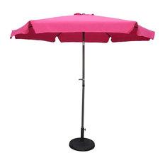 9' Aluminum/ Polyester Fabric Patio Umbrella and Crank - Dark Grey/Bery Berry