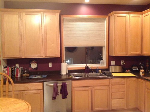 Backsplash for for light maple cabinets with dark brownish. on Maple Cabinets With Backsplash  id=55026