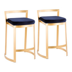 LumiSource Fuji Counter Stool, Set of 2, Gold Metal, Blue Velvet