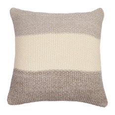 Darzzi - Marl Moss Striped Cushion, Warm Gray and Natural Stone - Decorative Pillows
