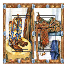 Western Saddle&Boots Double Rocker Peel and Stick Switch Plate Cover