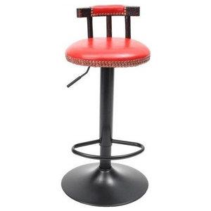 Industrial Bar Stool, Steel Metal, Adjustable Height and Short Backrest, Red