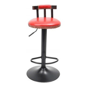 Industrial Bar Stool, Steel Metal, Adjustable Height and Short Backrest, Red